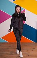 Красивый женский бархатный спортивный костюм на молнии 50-52, 54-56