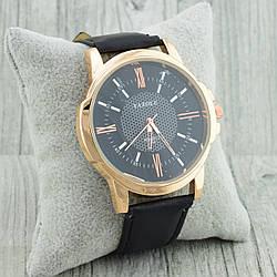 Часы G-108 диаметр циферблата 4.4 см, длина ремешка 19-23 см, чёрный цвет, позолота РО