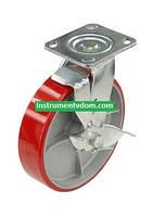 Колесо 590200 с поворотным кронштейном и тормозом (диаметр 200 мм)