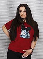 Модная женская футболка с принтом батал, фото 1