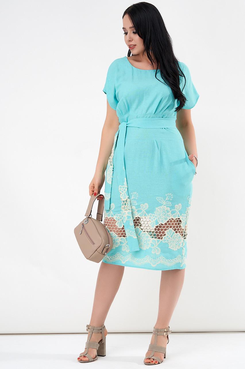 Летнее платье из льна бирюзового цвета. Модель 21234. Размеры 50-56