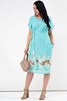 Летнее платье из льна бирюзового цвета. Модель 21234. Размеры 50-56, фото 1