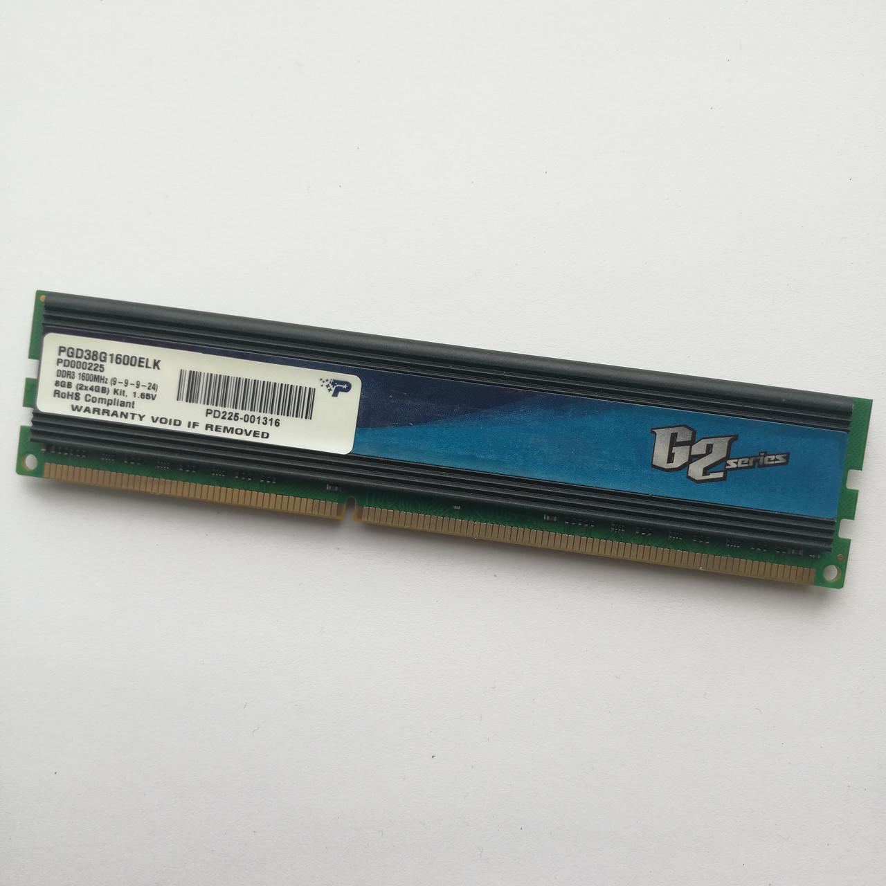 Игровая оперативная память Patriot DDR3 4Gb 1600MHz PC3 12800U CL9 (PGD38G1600ELK) 1,65V Б/У