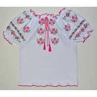 Детская вышиванка с коротким рукавом Нежные цветы. Синий, розовый. Размер 116 - 140