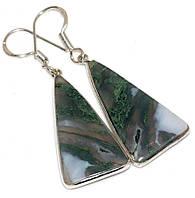 Серебряные серьги с моховым  агатом, фото 1