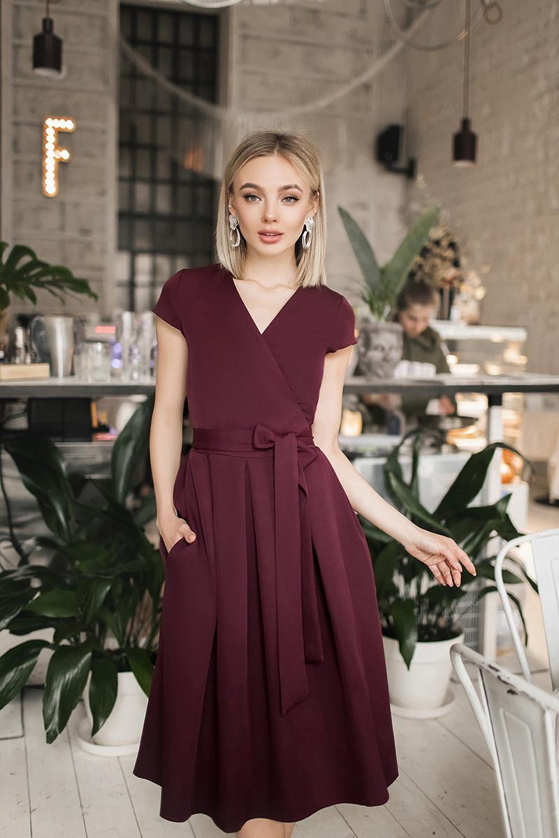 Женское платье на запах Бордовый