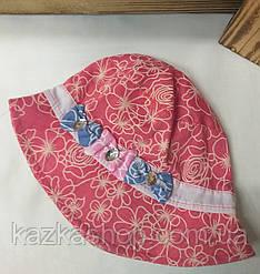 Детская панама с узором, шляпка для девочек, 100% хлопок, вставка бантик, размер 46-48