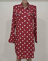 Платье рубашка красное в белый горошек женское, летнее платье р - ры  M. Турция