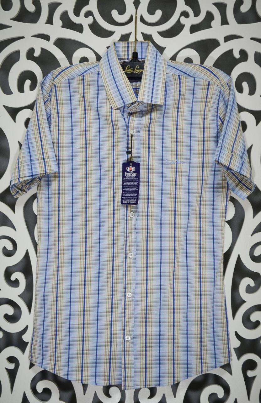 "Мужская рубашка в мелкую клеточку ткань ""Коттон+ Лайкра"" S размер норма"