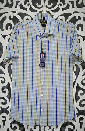 "Мужская рубашка в мелкую клеточку ткань ""Коттон+ Лайкра"" S размер норма, фото 2"
