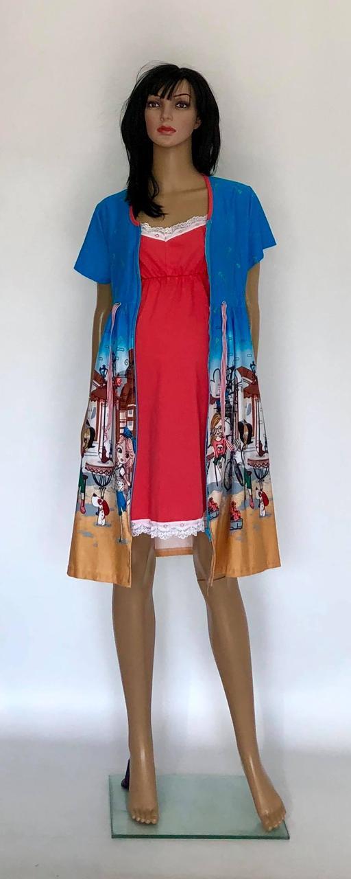 Трикотажный комплект летний халат и ночная рубашка в роддом