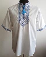 Вишита чоловіча сорочка з короткими рукавами білий льон ВЧЛ-0432