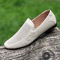 Туфли мокасины мужские летние кожаные бежевые (код 234) - туфлі мокасини чоловічі шкіряні літні бежеві, фото 1