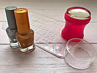 Стемпинг для ногтей +Пластина + 2 Краски для стемпинга Набор