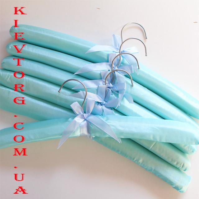 Плечики вешалки атласные для деликатной одежды бирюзового цвета