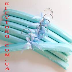 Вешалки (плечики, тремпеля) мягкие атласные для деликатной одежды, платьев, блузок, халатов бирюзовые, 6 шт