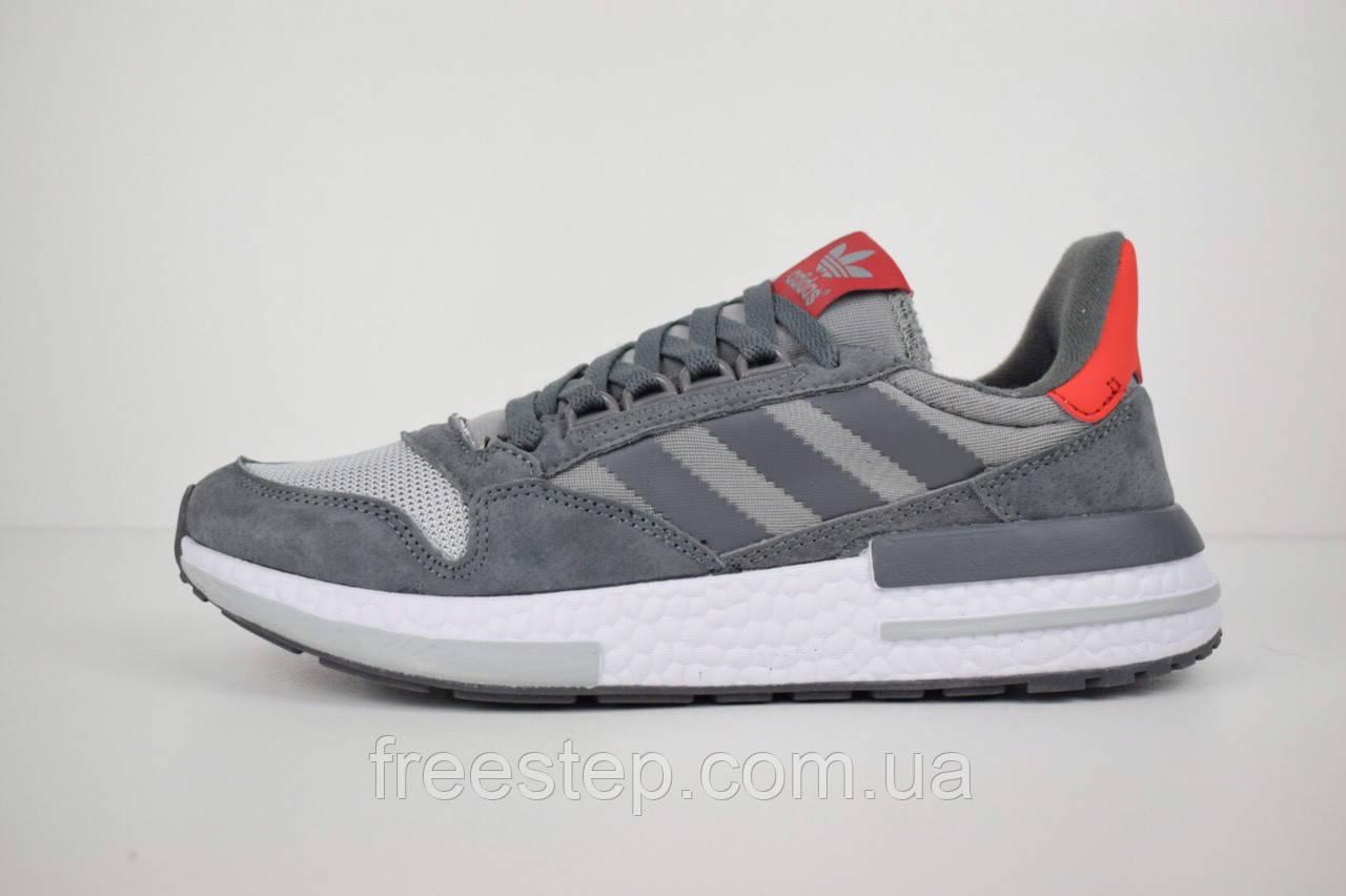 Мужские кроссовки в стиле Adidas ZX 500 серые с красным
