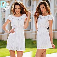 Платье Белое Короткое Лето Прошва Рюша Волан на плечах