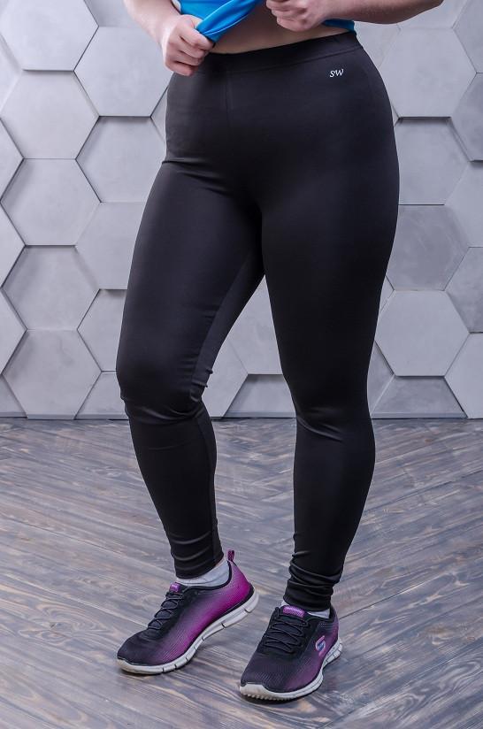 Эластичные лосины для фитнеса размер  плюс черные(42-56)