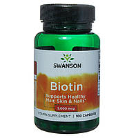 """Витамины """"Biotin"""", Swanson, 5,000 мкг, 100 капсул"""
