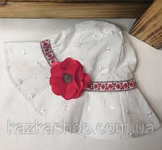 Детская панама под украинский мотив, шляпка для девочек, 100% хлопок, вставка цветок, размер 48-50