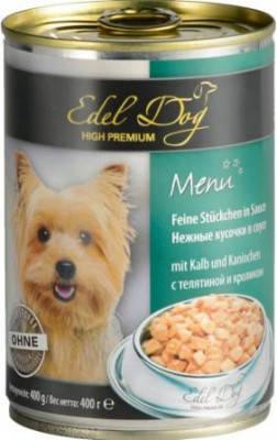 Дієтичні консерви для собак Edel Dog шматочки телятини з кроликом 400 г, фото 2