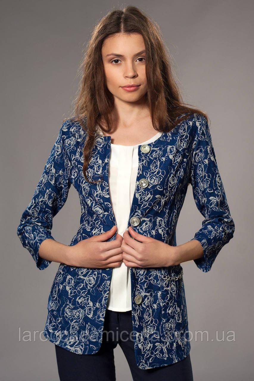 f630ed6634753 Женский удлиненный жакардовый джинсовый пиджак. Код модели Ж-28-34 ...