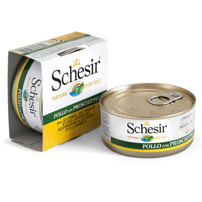 Консерви для собак Schesir (Шезир) курка-шинка-вощи в желе 150 гр, фото 2
