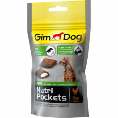 GimDog Здоровье кожи и шерсти Витаминное лакомство Nutri Pockets Shiny 45гр
