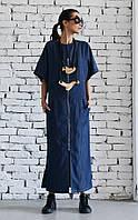 Платье -туника оверсайз из джинсовой ткани