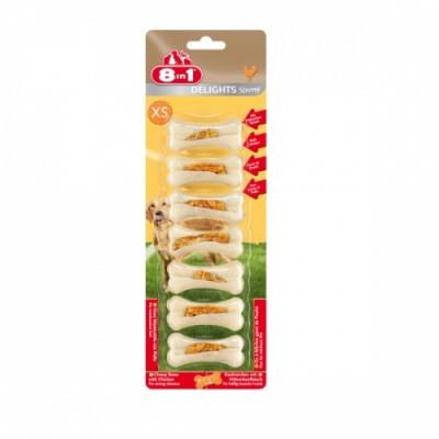 Кісточки з куркою Ласощі для собак 8in1 Delights Strong, XS 7шт