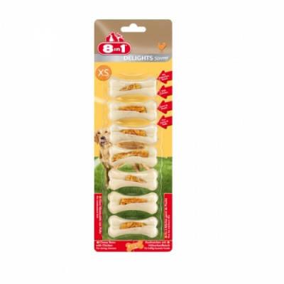 Косточки с курицей Лакомства для собак 8in1 Delights Strong,  XS 7шт, фото 2