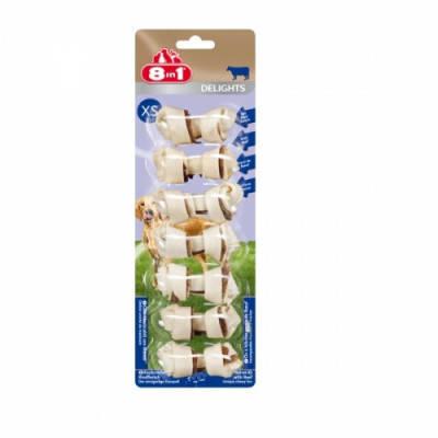 8in1 Лакомства для собак Delights Сахарные косточки с говядиной XS 7 см 7 шт, фото 2