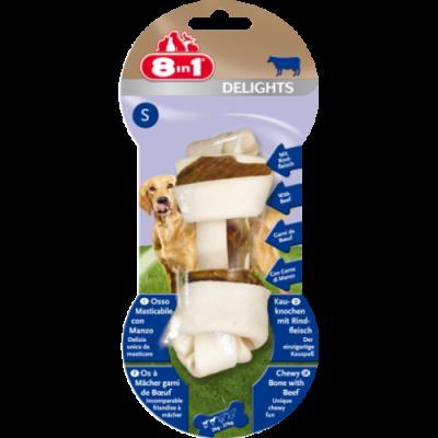 8in1 Лакомства для собак Delights Сахарные косточки с говядиной S 11 см 1 шт, фото 2