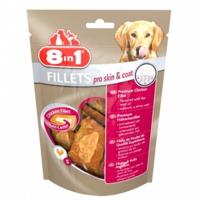 Ласощі для собак 8in1 Fillets Pro Skin&Coat з курячим філе S 80 гр