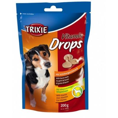 Витаминное лакомство с беконом для собак Trixie Drops 200 гр