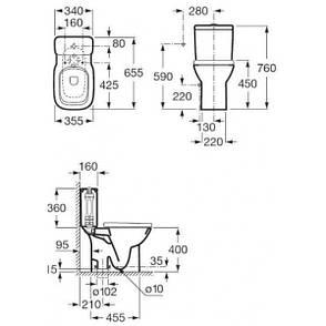 DEBBA компакт в комплекте, сиденье slowclosing, подвод сбоку, вертикальный выход, фото 2