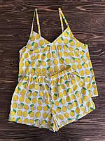 Пижама хлопковая с шортами Лимоны, фото 1