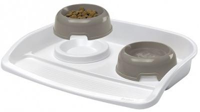 Пластиковий піднос з мисками для кішок і собак FerpLast Lindo Maxi, 2шт х 0,6 л