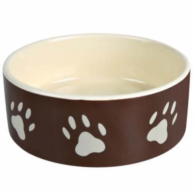 Миска для собак керамическая Тrixie (Трикси), 0,8 л /16 см, коричневая с лапками