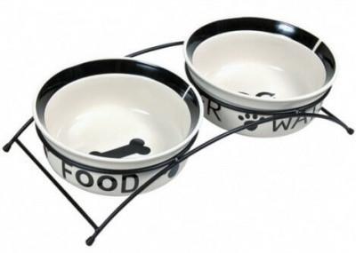 Подставка с керамическими мисками для собак Trixie Eat on Feet, 1,6 л/20 см