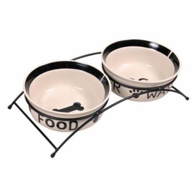 Подставка с керамическими мисками для собак Trixie Eat on Feet, 0,6 л/15 см