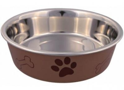 Trixie Металлическая миска для собак на резине  с пластиковым покрытием, 0,4 л/14 см