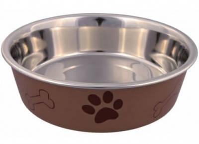 Trixie Металлическая миска для собак на резине  с пластиковым покрытием, 0,4 л/14 см, фото 2
