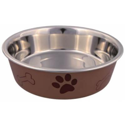 Trixie Металлическая миска для собак на резине  с пластиковым покрытием, 0,25 л/12 см
