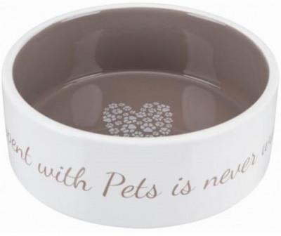 Миска керамическая для собак и кошек Trixie (Трикси) Pet's Home, 0,8 л/16 см, бежевая