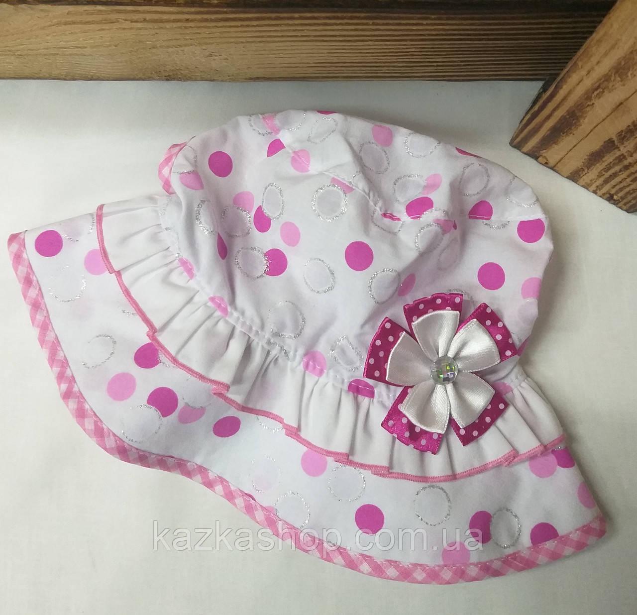 Детская панама в горошек, шляпка для девочек, 100% хлопок, вставка цветок, размер 46-48