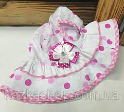 Детская панама в горошек, шляпка для девочек, 100% хлопок, вставка цветок, размер 46-48, фото 2
