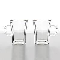 Комплект чашек с двойным дном для кофе и чая 2 шт 330 мл стеклянные чашки набор