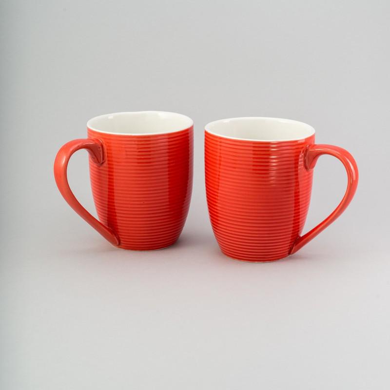 """Набор чашек 2 ед """"red & white"""" 300 мл красные керамические чашки комплект"""